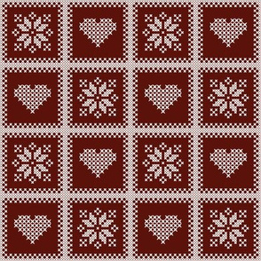 hearts and poinsettias wht/red