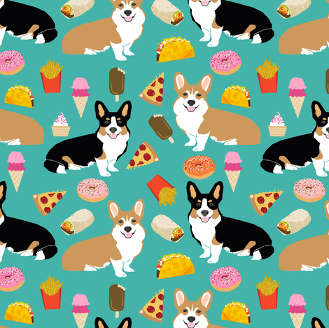 corgi junk food fabric cute corgis and junk food, pizza, ice cream fries, donuts etc. cute dogs designs fabric by petfriendly on Spoonflower - custom fabric