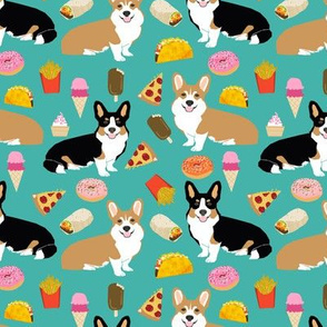corgi junk food fabric cute corgis and junk food, pizza, ice cream fries, donuts etc. cute dogs designs