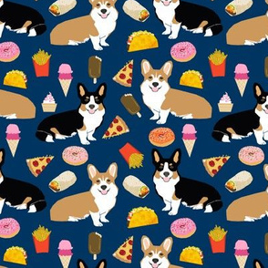 corgi junk food cute dogs design donuts tacos pizza ice cream cute dogs fabric