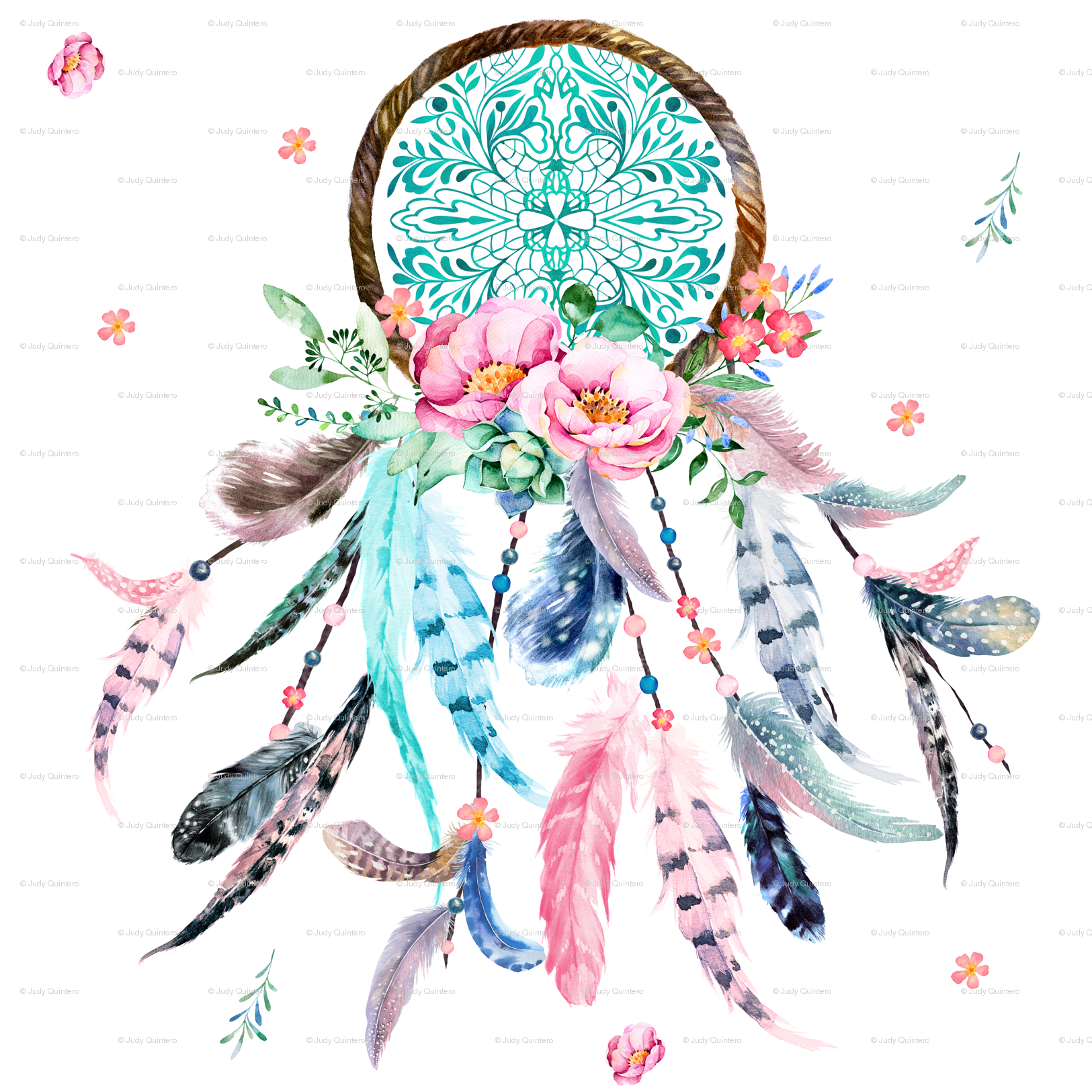 3 pink and aqua dream catcher fabric shopcabin spoonflower mightylinksfo