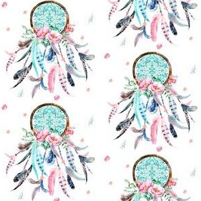 "3"" Pink and Aqua Dream Catcher"