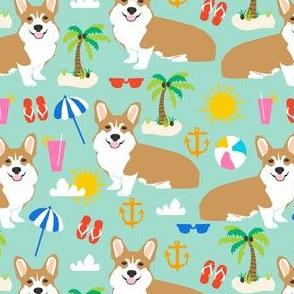 beach corgi cute summer palm tree flip flops dogs cute palms fabric