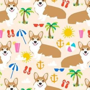 beach corgi cute summer tropical beaches fabric for corgi owners cute dogs design