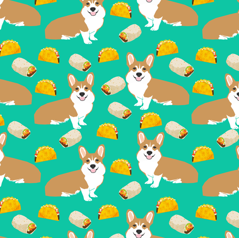 corgi taco burrito dogs fabric cute corgis dogs fabric dog fabric fabric by petfriendly on Spoonflower - custom fabric