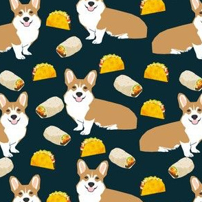 corgi taco burrito corgis cute dog food cute dogs fabric