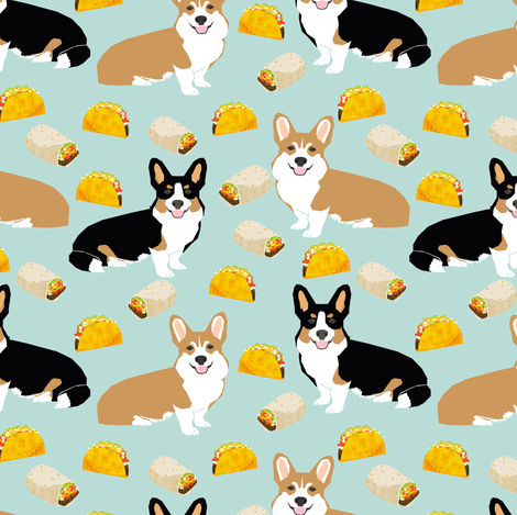 corgi tacos corgi burritos dog fabric cute dogs design best corgis fabric fabric by petfriendly on Spoonflower - custom fabric