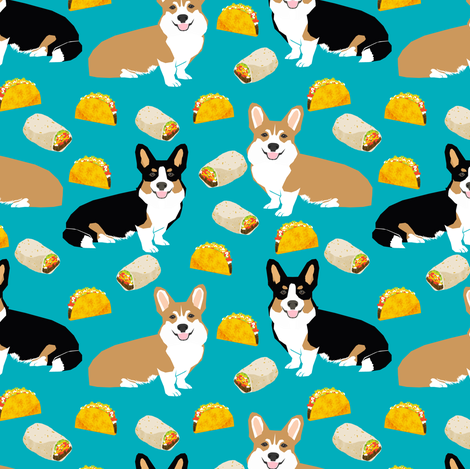 corgi tacos cute corgi dogs fabric cute corgis burritos mexican food fabric by petfriendly on Spoonflower - custom fabric