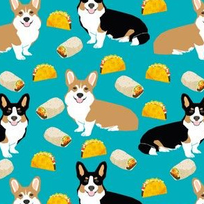 corgi tacos cute corgi dogs fabric cute corgis burritos mexican food