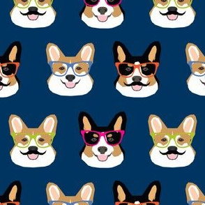 corgi dog fabric cute mustache and dogs fabric glasses dogs fabric