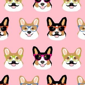 corgi mustache glasses fabric cute hipster corgi faces