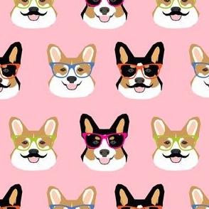 corgi mustache glasses fabric cute hipster corgi faces