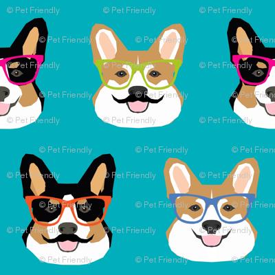 corgi glasses and mustaches cute corgi dog fabric pet dogs design
