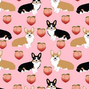 corgi peach fabric cute peach emoji peaches corgis fabric