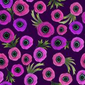 Floral watercolor purple