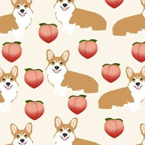 corgi peach fabric cute peach emoji corgis fabric