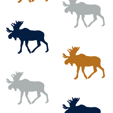 multi moose || cider and navy - happy camper wholecloth coordinate fabric by littlearrowdesign on Spoonflower - custom fabric
