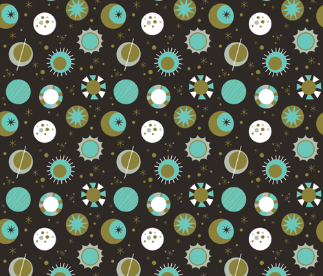 Celestial Mod in Black fabric by mintgreensewingmachine on Spoonflower - custom fabric