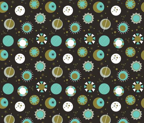 Celestial Mod in Black fabric by mintgreensewingmachine on Spoonflower - custom fabric