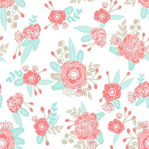 floral painted florals flowers cute pink and coral and mint fabric