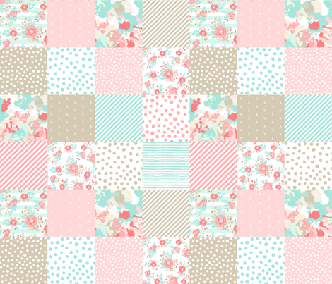 quilt squares coral mint pink khaki quilt squares baby blanket cute girls nursery baby girl fabric by charlottewinter on Spoonflower - custom fabric