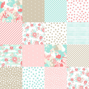 quilt squares coral mint pink khaki quilt squares baby blanket cute girls nursery baby girl