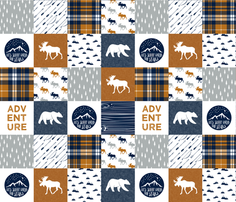the happy camper wholecloth || navy & cider fabric by littlearrowdesign on Spoonflower - custom fabric