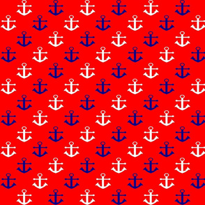 Navy and White Anchors on Red
