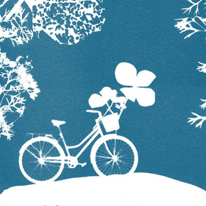 Bike Cyanotype Design in Blue