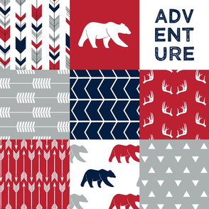 adventure woodland  wholecloth  || navy,red,grey