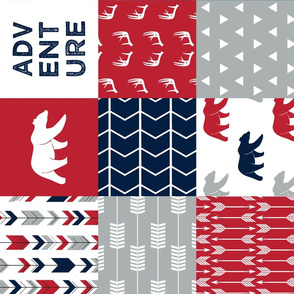 adventure woodland  wholecloth (90) || navy,red,grey