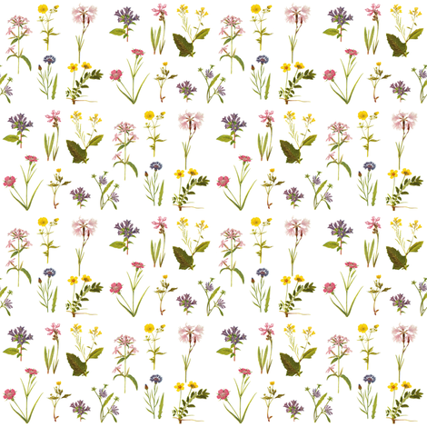 Wildflower Antiquities on White, Mini fabric by thistleandfox on Spoonflower - custom fabric