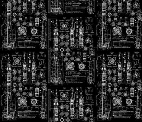 Soyuz Blueprints fabric by sharksvspenguins on Spoonflower - custom fabric