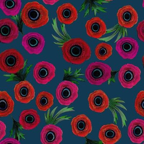 Anemone Floral on Teal