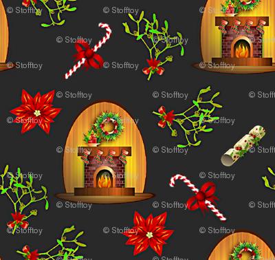 fireplace and mistletoe