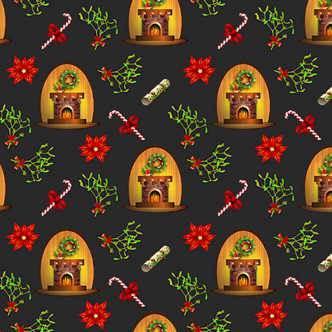 fireplace and mistletoe fabric by stofftoy on Spoonflower - custom fabric