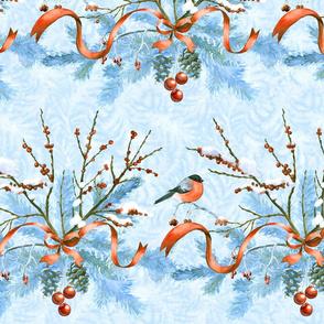 Christmas birds and frozen fir branches