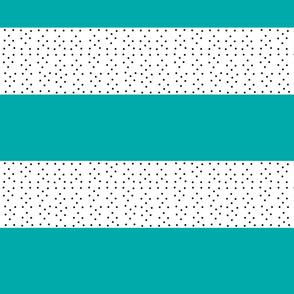 Shabby Chic Stripes MED 5 -teal black polka dots