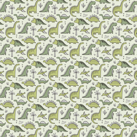 Dinosaurs in Green Tiny Small fabric by caja_design on Spoonflower - custom fabric