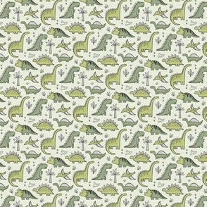 Dinosaurs in Green Tiny Small