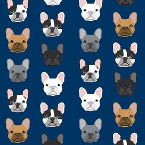 french bulldog faces navy blue cute dogs pet dog design best frenchies fabric