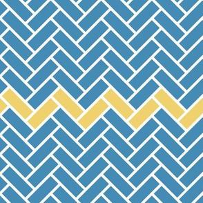 Blue & Yellow Herringbone