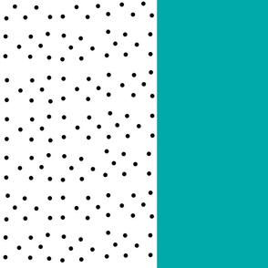 Shabby Chic Stripes Vertical  XL -teal black polka dots