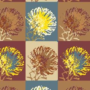 16-11B Protea Floral Botanical || Teal African Safari Slate Blue Camel Brown Garden Gardener_Miss Chiff Designs