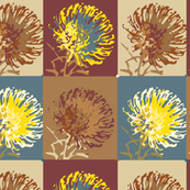 Protea Floral Botanical || Teal African Safari Slate Blue Camel Brown Garden Gardener_Miss Chiff Designs