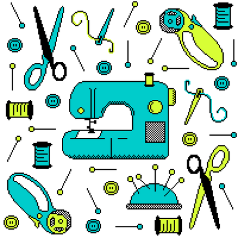 Stitch-Bit: Sewing Meets Technology fabric by robinskarbek on Spoonflower - custom fabric