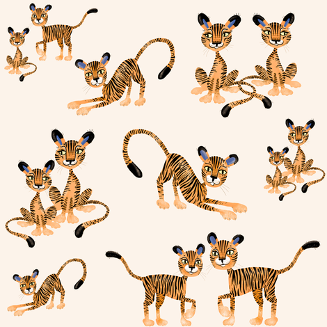 Tiger Tiger! in warmer tones fabric by taraput on Spoonflower - custom fabric