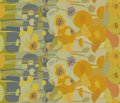 Poppies avocado- sideways fabric by wren_leyland on Spoonflower - custom fabric