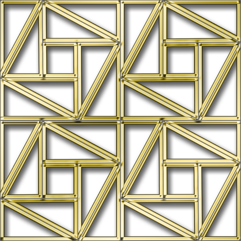 Pythagorean Empty Frames with fake gold fabric by eclectic_house on Spoonflower - custom fabric