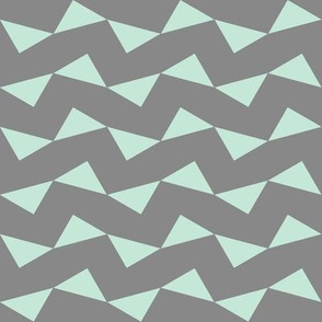 Tri Zag No. 3 - Teal Triangles on Gray